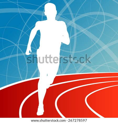 Running fitness man sprinting and training for marathon - stock vector