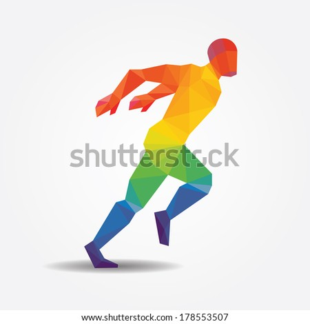Running geometric concept design color Illustration vector. - stock vector