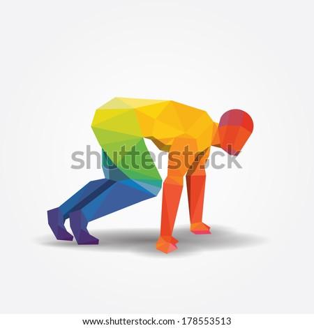 Running geometric concept design color Illustration vector. - stock vector