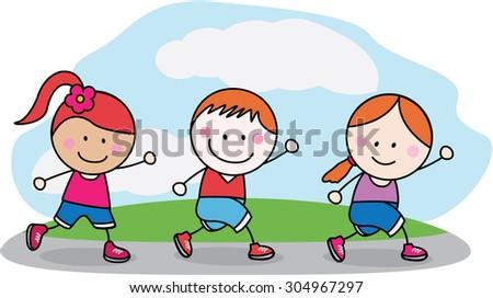 Running kids at morning - stock vector