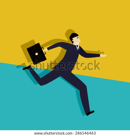 Running late business man, conceptual corporate graphic - stock vector