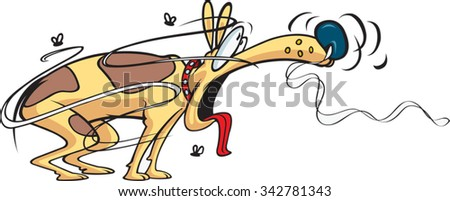 Running Mailman Cartoon of a Mailman running from a small Dog. Vector file available. - stock vector