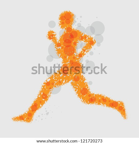 Running Man - Abstract vector illustration - stock vector
