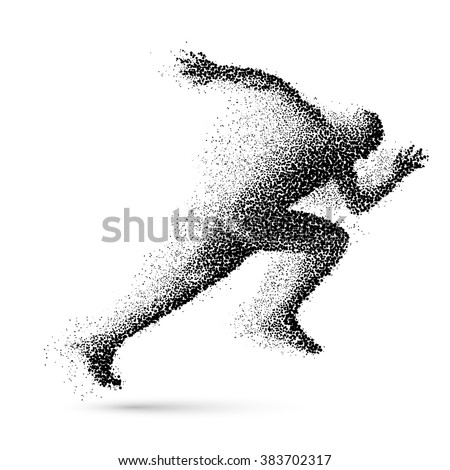 Running Man in the Form of Black Particles - stock vector