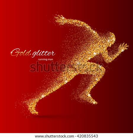 Running Man in the Form of Gold Particles on Red - stock vector