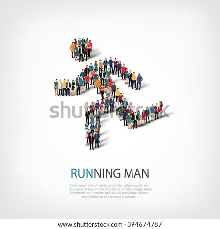 running man sports people - stock vector