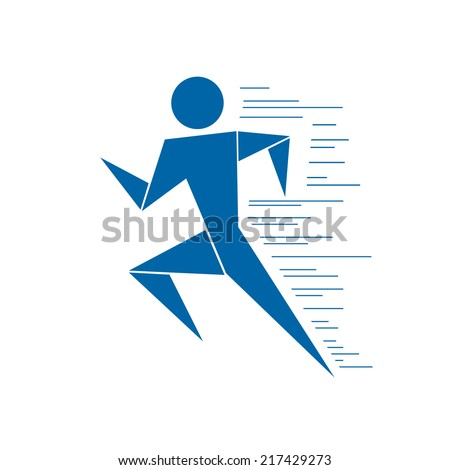 Running man. Vector graphics. - stock vector