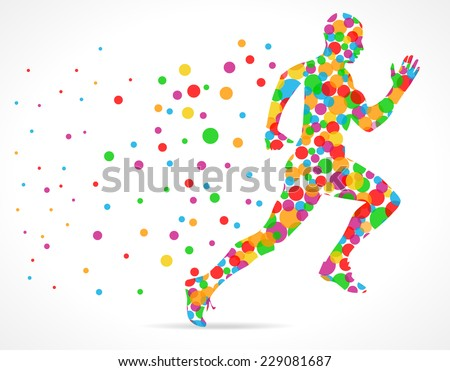 Running man with color circles, sports man running - vector eps10 - stock vector