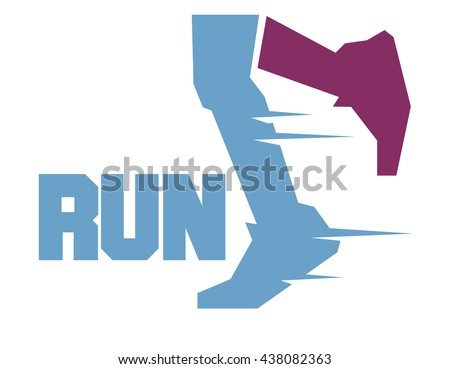 Running marathon. Flat vector illustration. - stock vector