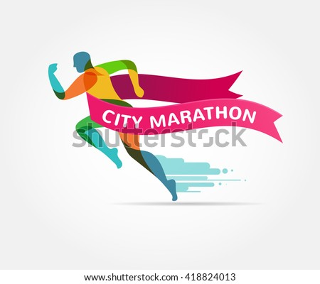 Running marathon, icon and symbol with ribbon, banner - stock vector