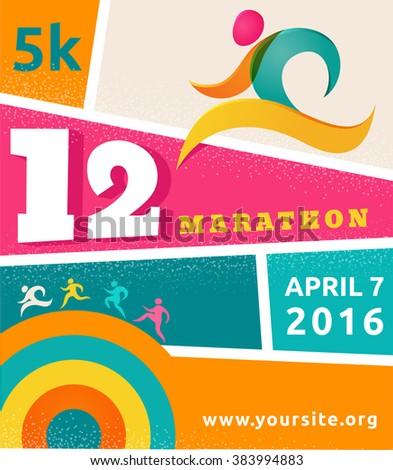 Running marathon, people run, colorful poster - stock vector