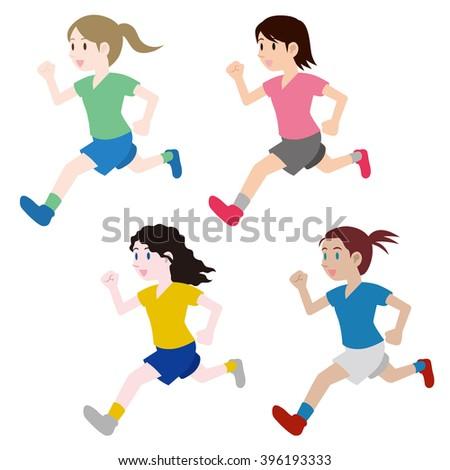 running multicultural girls, clipping illustration set, track and field, football, soccer, worldwide friendship, vector - stock vector