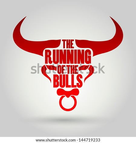 Running of the Bulls festival vector - stock vector