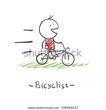 running on bicycle - stock vector