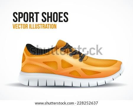 Running orange shoes. Bright Sport sneakers symbol. Vector illustration isolated on white background. - stock vector