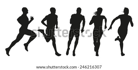 Running people silhouettes - vector set. Collection of vector outlines of athletes - stock vector