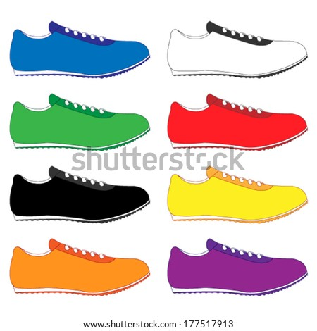 Running Shoes in Different Colours Blue White Green Red Black Yellow Orange Purple - stock vector