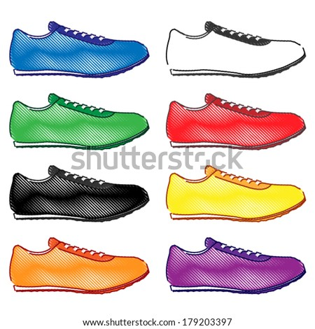 Running Shoes in Different Colours Blue White Green Red Black Yellow Orange Purple Pencil Style 2 - stock vector