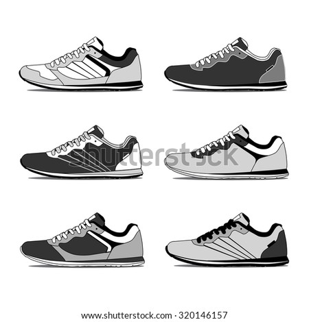 Running shoes, retro shoes. Vector. - stock vector