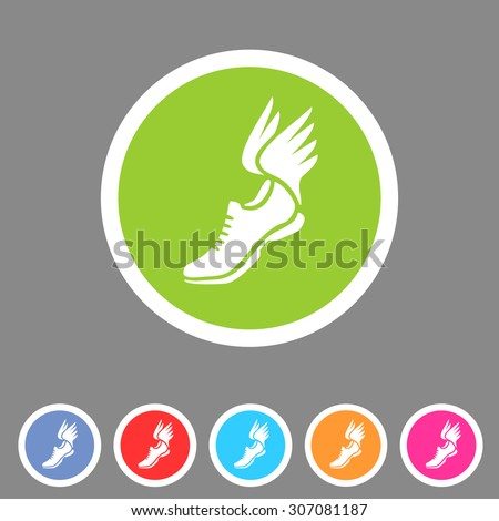 Running shoes wings icon flat web sign symbol logo label - stock vector