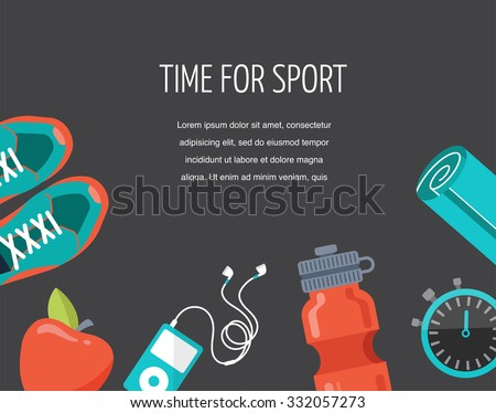 running, sport and gym icons set - stock vector