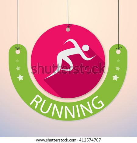 Running / Sprint / Marathon - Colorful Sports Icon - stock vector