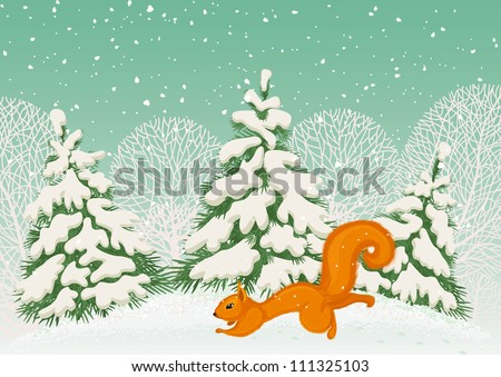 Running squirrel in the winter forest - stock vector