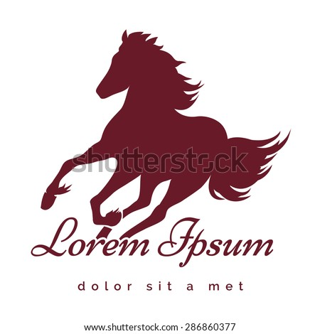 Running Stallion logo or emblem. Only free font used. Isolated on white background. - stock vector
