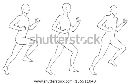 Running stylized bodies - stock vector