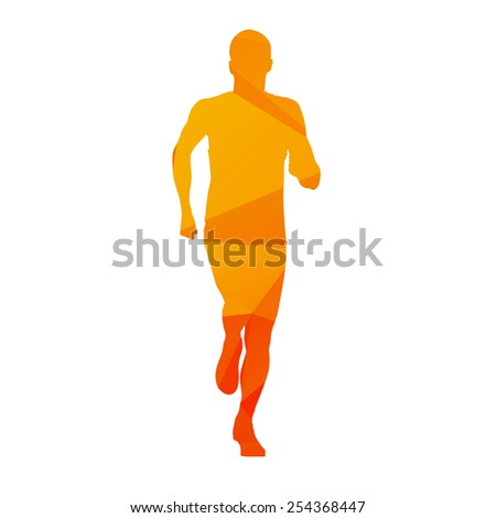 Running teenager. Vector abstract silhouette - stock vector