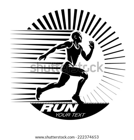 Running. Vector illustration in the engraving style - stock vector