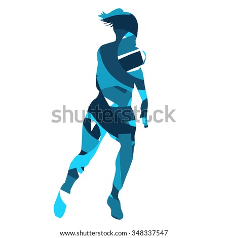 Running woman. Abstract blue silhouette - stock vector