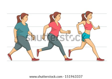 Running woman with different body mass - stock vector