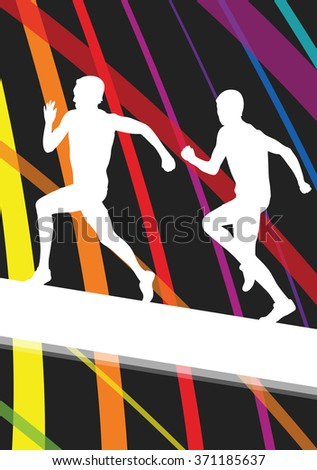 Running young active and healthy men sport silhouettes vector background illustration concept - stock vector