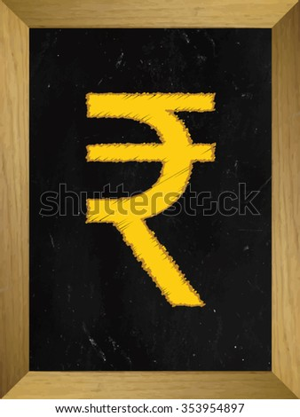 Rupee Currency Sign on a Chalkboard - stock vector