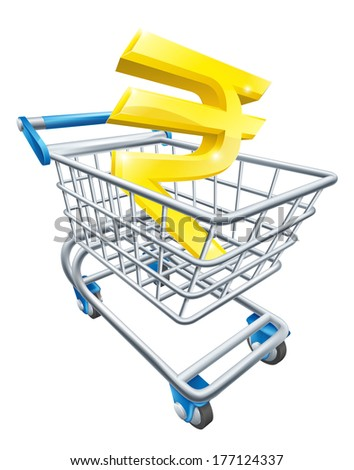 Rupee currency trolley concept of Rupee sign in a supermarket shopping cart or trolley - stock vector