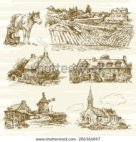 rural France landscape - hand drawn set - stock vector