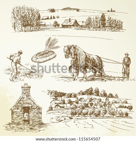 rural landscape, agriculture, village - stock vector