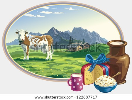 Rural landscape and dairy foodstuff. - stock vector