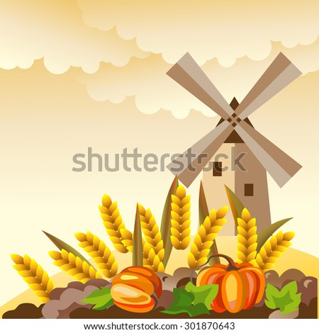 Rural landscape. Autumn countryside with windmill, wheat, pumpkin. - stock vector