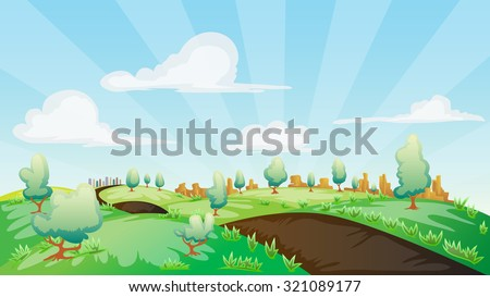 Rural landscape cartoon, with country road, tree, grass, rocky mountain, and building far away under bright blue sky - stock vector