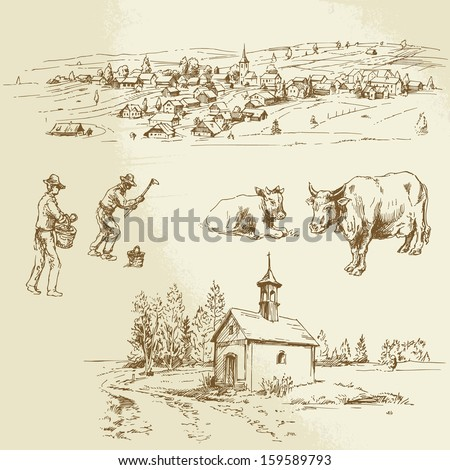 rural landscape, farming - hand drawn illustration - stock vector