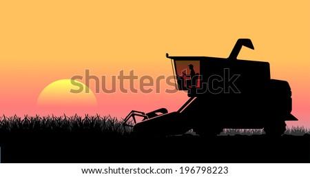 rural landscape, harvesting - stock vector