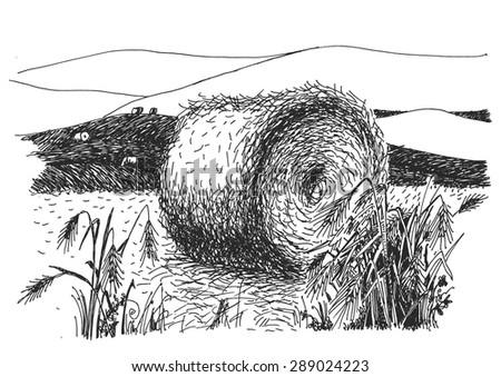 rural landscape ink pen picture - vector - stock vector