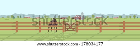 Rural landscape panorama. Horse standing behind the wooden fence at pasture land with houses and trees in the distance - stock vector