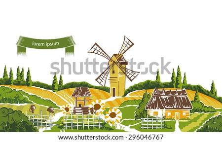Rural landscape sketch vector illustration  - stock vector