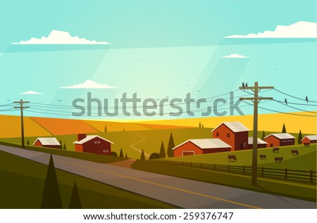 Rural landscape. Vector illustration.  - stock vector