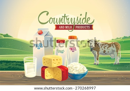 Rural landscape with a cow, and set of milk products. - stock vector