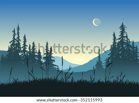 Rural landscape with crescent moon at dawn. EPS version 10.   - stock vector