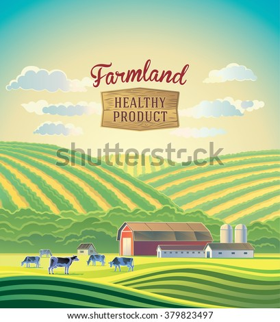 Rural landscape with farm and a herd of cows. Farmland.  - stock vector